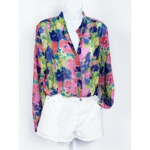 WIII Walter Baker Sheer Watercolor Floral Blouse S